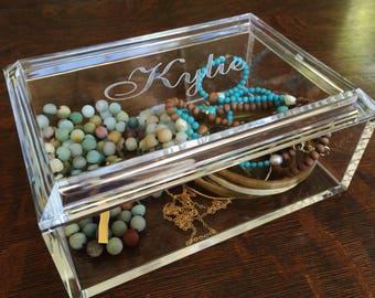 Reserved 7 Jewelry Box Personalized, Monogram Jewelry Box, Acrylic Box, Jewelry Boxes Women, Graduation Present, Acrylic Jewelry Tray