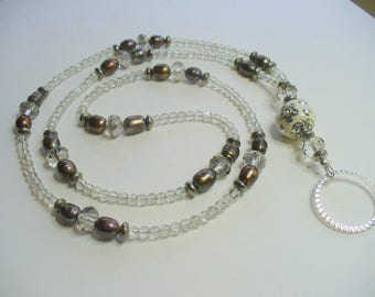 Gray Fresh Water Pearl, Lanyard Necklace, Gray Crystal Bead Lanyard, Nametag, Key chain Holder, Silver, Gray Pearl Necklace, Badge Holder