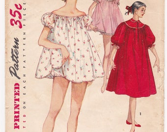 """1955 Simplicity 1102 Misses Nightgown, Shortie Babydoll Nightgown Vintage Sewing Pattern, Size 16, Bust 34"""", Complete Partly Cut"""