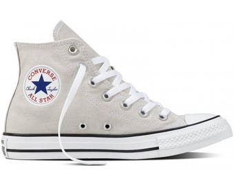 Converse Pale Gray Putty Mens Ladies Grey High Top w/ Swarovski Crystal Rhinestone Bling Wedding Chuck Taylor All Star Sneaker Shoe