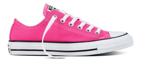 Custom Low Top Converse Pink Bright Rose w/ Swarovski Crystal Rhinestone Bling Bridal Wedding Chuck Taylor All Star Trainers Sneaker Shoe