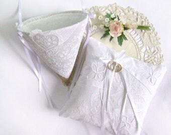 Ring Bearer Pillow Flower Girl Cone Set, Vintage White, Lace Ring Bearer, Flower Girl Basket, Vintage White Handkerchiefs, Basket Pillow Set
