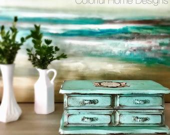 Vintage Jewelry Box, Painted Jewelry Box, upcycled Jewelry Box, French Jewelry Box, Decoupaged Jewelry Box, Shabby Chic Jewelry Box