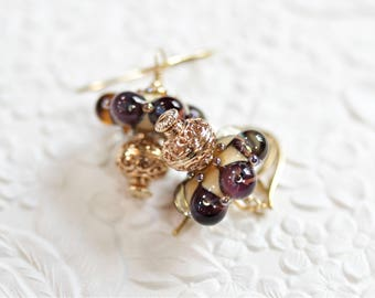 Handmade Lampwork Glass, 14K Gold-Filled, Vermeil Earrings - OOAK