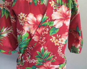 Retro Hawaiian Ladies Cabana Set Pink Hibiscus 26-32 Waist