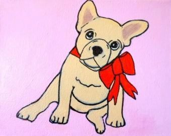 "Bulldog Puppy on Pink 8 x 10"""