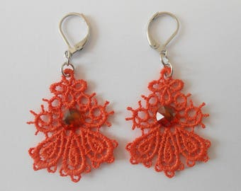 Small orange lace earrings and steel stainless