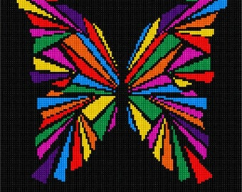 Needlepoint Kit or Canvas: Butterfly Geometry Colors
