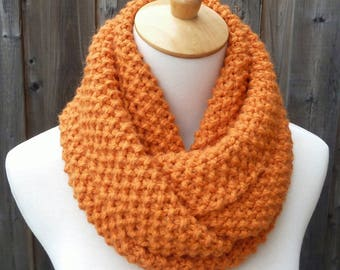 Alpaca Wool Infinity Scarf - Pumpkin Wool Infinity Scarf - Burnt Orange Infinity Scarf - Chunky knit scarf - Circle Scarf - Ready to Ship.
