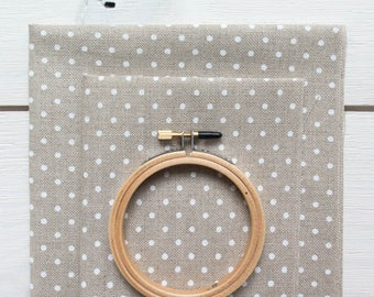 32 ct Cross Stitch Fabric - White Polka Dot on Natural Linen Polka Dot Linen Needlework Fabric
