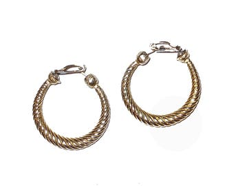 1950s MOD earrings gold over brass loops Marked Pat Pending 1900 clip on