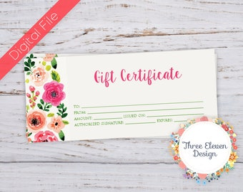 Floral Printable Gift Certificate