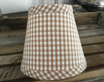 Beige And White Gingham Petite Check Chandelier Lampshades