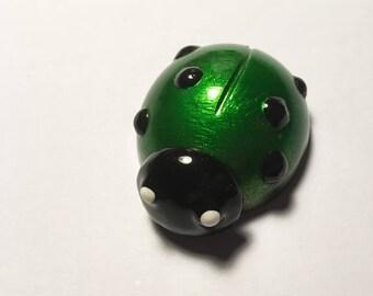 Green Ladybird Sculpture, Ladybug, Six-Spotted