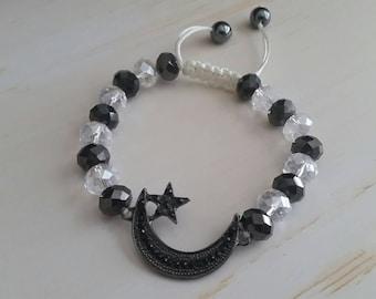 Moon & Stars Charm, Shamballa Style Bracelet, Black and White Beads, Crystal Beads, Diamond Cut Beads, White Cord, Slide Knot Bracelet