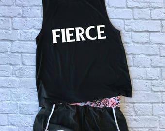 fierce muscle tee -strong woman tank - gym shirt - gift for her - yoga shirt - muscle tank  - running shirt - sports bra