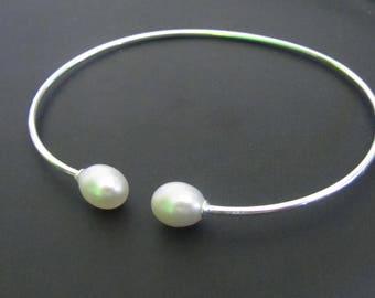Pearl Bracelet, Pearl Bangle bracelet, Sterling Silver Bracelet, Jewelry, Gift for Her