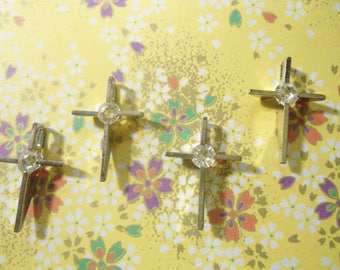 6 Vintage 19mm Silverplated Crosses with 4mm Rhinestone