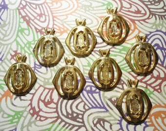 8 Goldplated Pendants with a 5x8mm Setting
