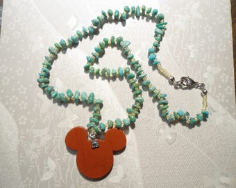 "1 Disney Mickey Mouse 16"" Turquoise Necklace"