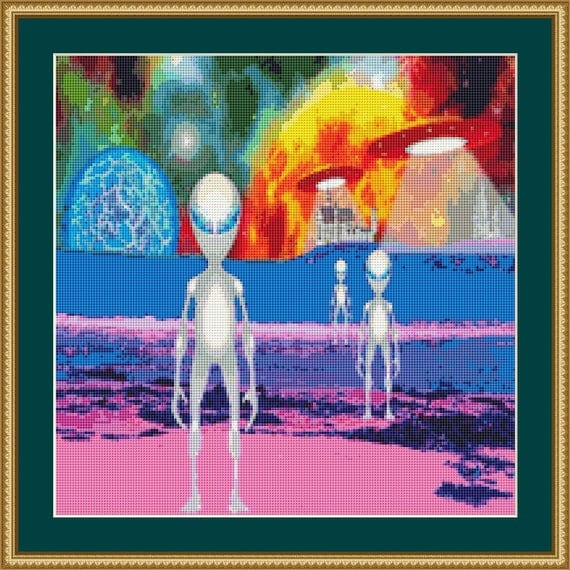 Aliens Cross Stitch Pattern /Digital PDF Files /Instant downloadable