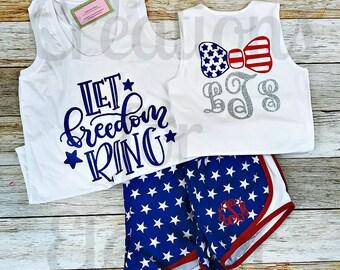 Girls 4th of July Running Shorts, Patriotic Running Shorts, Fourth of July Shorts, Personalized Athletic Shorts, Independence Day Shorts