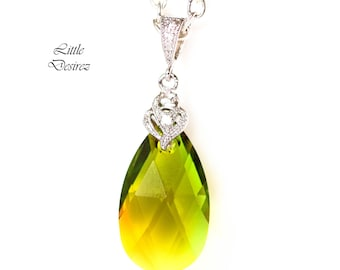 Green & Yellow Necklace Swarovski Crystal Green-Topaz Blend Colorful Jewelry Bridesmaid Gift Teardrop Pendant Unqiue Crystal Jewelry GT32N