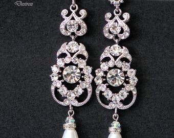 Rhinestone & Pearl Swarovski Earrings, Victorian Chandelier Earrings, Long Bridal Earrings, Crystal Silver Jewelry, Prom Earrings, AMENDINE