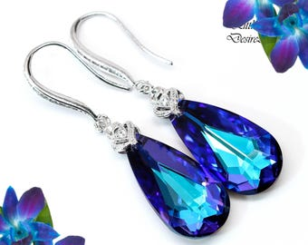 Swarovski Heliotrope Earrings Purple & Blue Earrings Bridal Earrings Bridesmaid Purple Jewelry Cubic Zirconia Earrings Sterling Silver HE33H