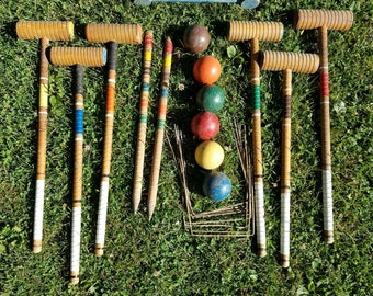 Antique Croquet Set Lawn Game 6 player