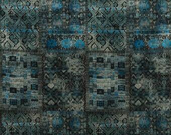 KRAVET COUTURE Lee JOFA Ornate Velvet Fabric 10 Yards Indigo Blue Multi