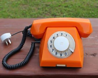 Orange rotary phone Vintage rotary telephone 1979 Orange table phone Soviet phone Retro telephone Soviet vintage telephone