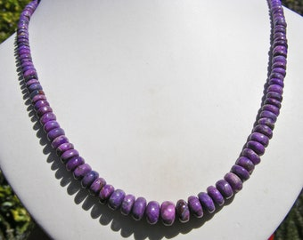 SUGILITE NECKLACE, AA Quality, Graduated Beads, Beautiful Natural Deep Purple, Sterling Silver, Adjustable Length