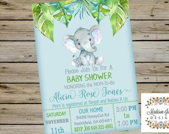 Cute Baby ELEPHANT Boy BABY SHOWER Invitation, Customized Digital Printable Baby Shower Invitation, Watercolor Baby Elephant Baby Shower