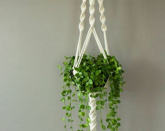 Gardening gift, Hanging planter, White Macrame plant hanger for wide  pot, gardening, plant holder,