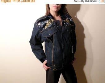 SALE Denim Jacket / 80s Denim Jacket / Norma Denim Jacket / Studded Jacket / Embroidered Jacket / Denim Jacket Size 36