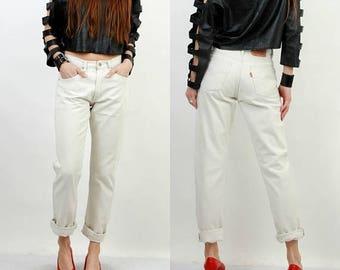 SALE 80s White Jeans / Levis 501 Jeans / Vintage Levis Jeans / Levis W31 L32 / Levi Strauss Jeans / Vintage Jeans / Levi Strauss / Large Jea