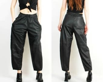 25% OFF Black Leather Pants /  High Waisted Pants / Soft Leather Pants / Woman Leather Pants / Vintage Leather Pants / Black Leather Pants