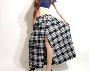 25% OFF Tartan Skirt / Vintage Plaid Skirt / Plaid Skirt / Maxi Long Skirt / Clanacric Skirt / Wool Skirt / Checkered Skirt