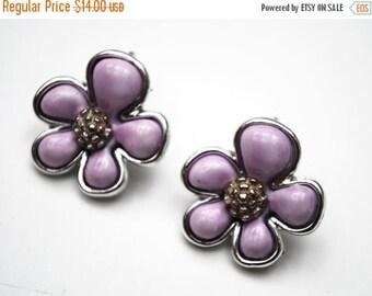 Coro  flower earrings - Purple Thermoset - silver - clip on Earring
