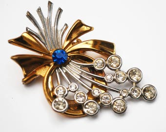 Floral spray Brooch -clear with Blue Rhinestone - Silver  flower - gold ribbon - Figurine pin Atomic
