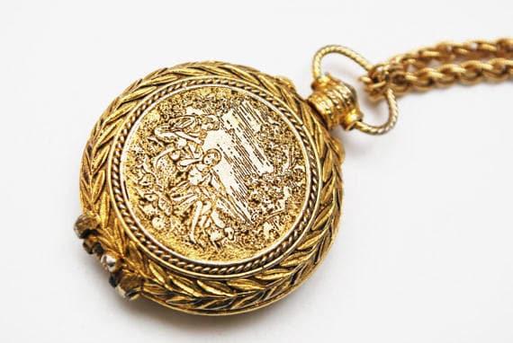 Vintage perfume Locket Pendant Etched Gold  -victorian Revival - Necklace