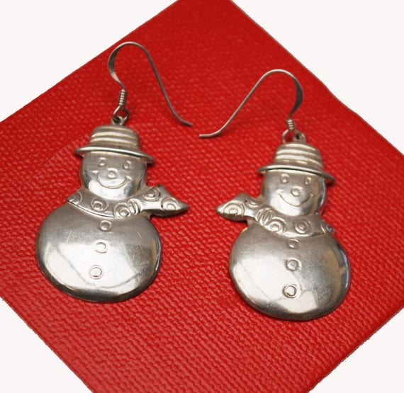 Sterling Snow Man Earrings - Silver Holidaychristmas - Winter figurine dangle earring