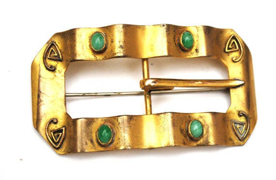 Gold Sash Pin - Belt buckle brooch - c clasp pin Victorian Art Nouveau green glass cabochon gold filled pin