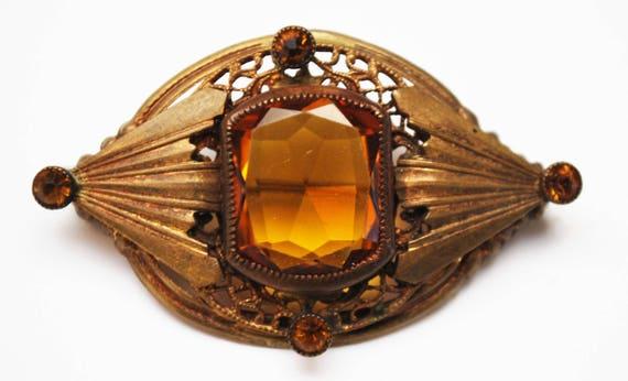 Amber Citrine Glass Brooch - Gold  Filigree Gilt Brass - orange Crystal - Vintage  Pin