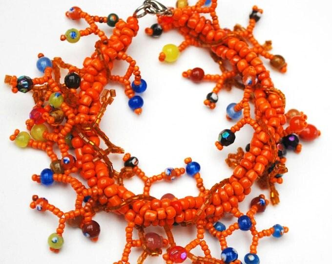 Orange Bead cha cha bracelet - Blue yellow green glass beads - Boho dangle bangle