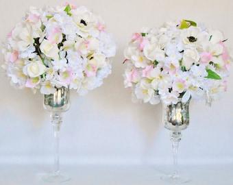 Silk Wedding Flowers, Artificial Wedding Flowers, Cream Rosebuds, Cream Alstroemeria, Pink Campanula, Cream Anemones, Silver Pedestal Vases