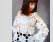 Open shoulders crochet top pattern trendy plus size women summer XXL beginner white lace tunic tank elegant oversize sexy outfit long sleeve