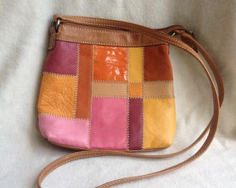 Fossil Crossbody Leather Patchwork Purse/ handbag FREE SHIPPING!!