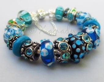 Authentic Pandora Bracelet With European Style Turquoise Artisan Murano Lampwork Glass Beads And Rhinestone Charms